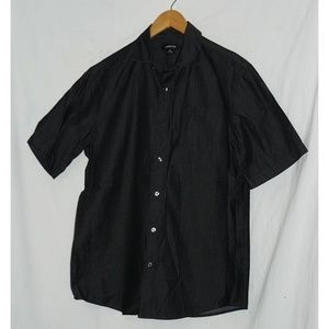CLAIBORNE Indigo Dark Blue SS Button-up Shirt, M
